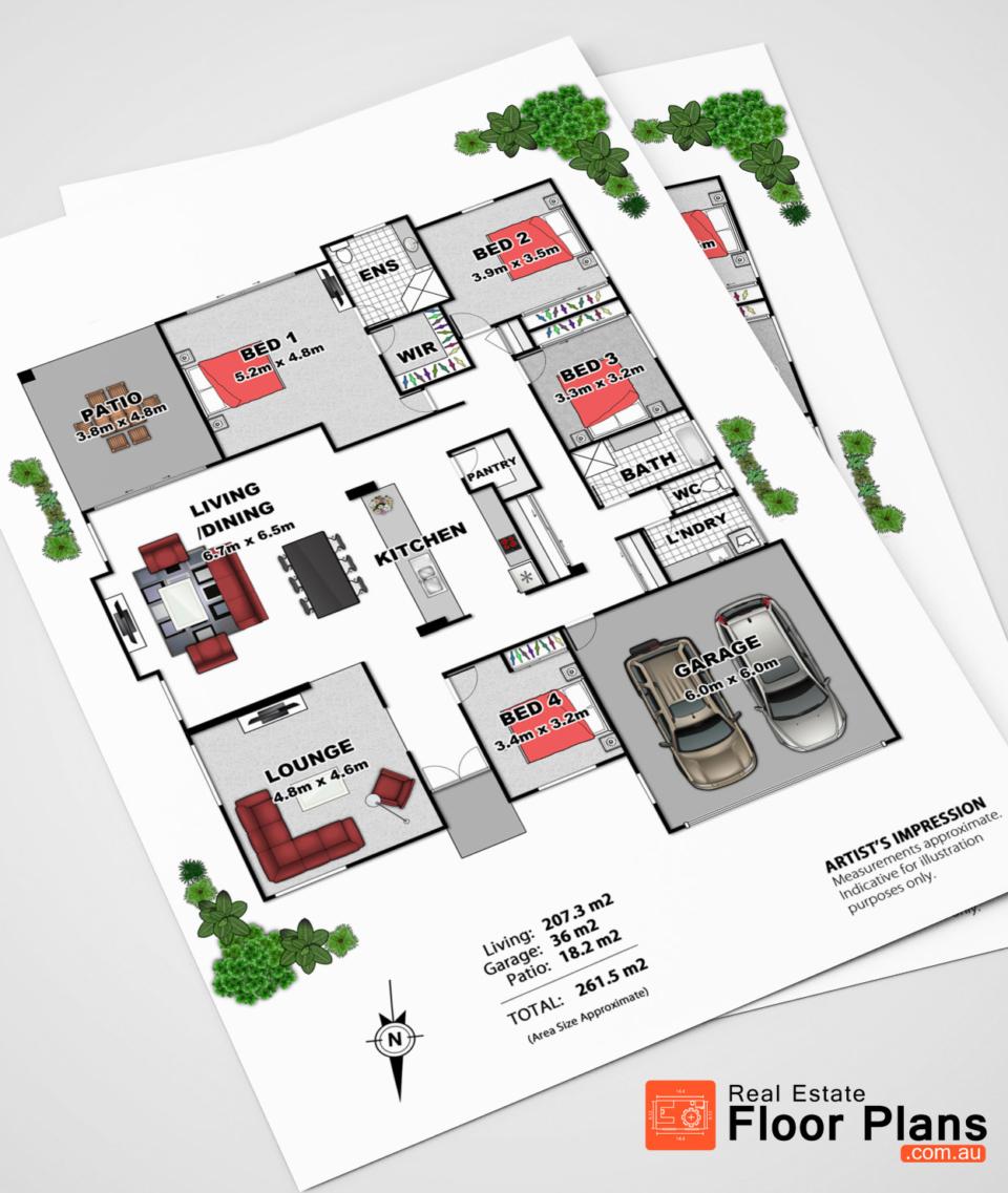 4 bedroom floor plan peregian springs real estate for Real estate floor plans