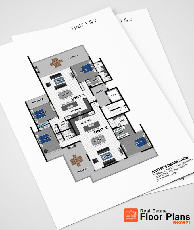 Unit complex marketing floor plans caloundra real for Floor plans for real estate marketing