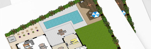 Marketing floor plan that includes landscaping
