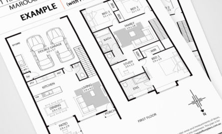 Black and white real estate floor plan with furniture upgrade