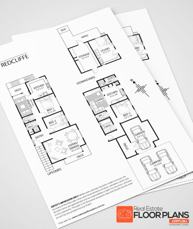 Black & White Floor Plan – Real Estate Floor Plans Redcliffe