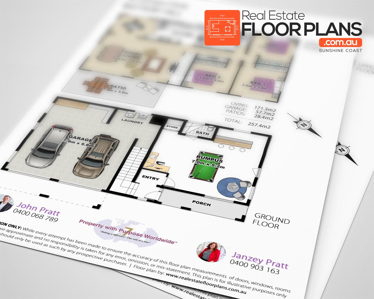 Coloured real estate floor plan caloundra for Real estate floor plans