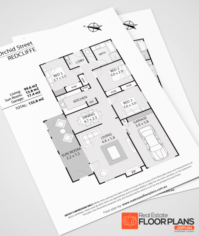 3 bedroom house redcliffe real estate marketing floor plan for Floor plans for real estate marketing
